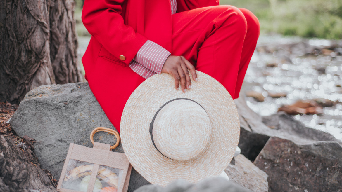 straw hat and straw bag, two piece suit